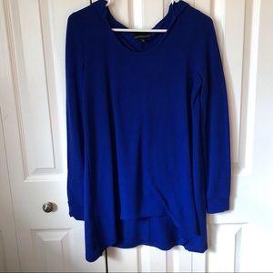 Blue Hooded Tunic Long Sleeve Shirt